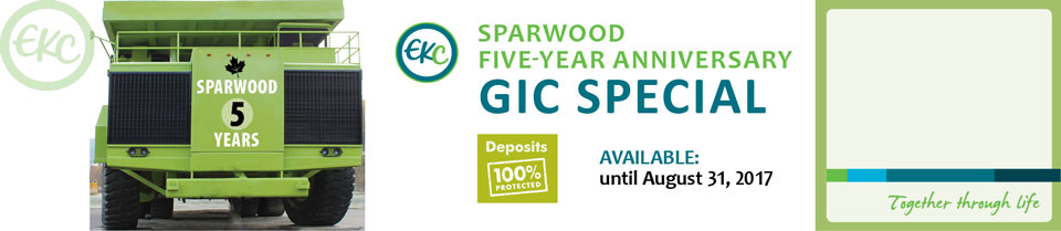 Learn more about the Sparwood Anniversary GIC