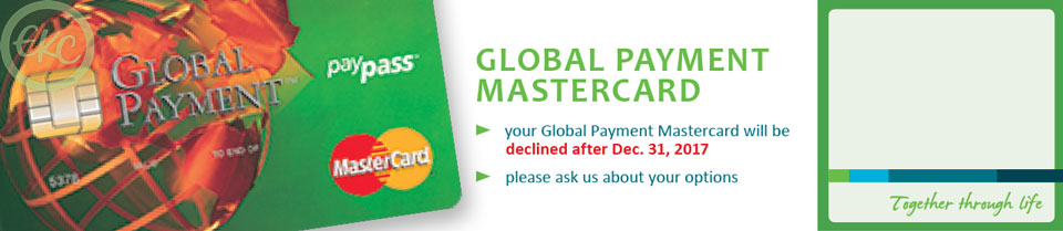 Global Payment Mastercard discontinued